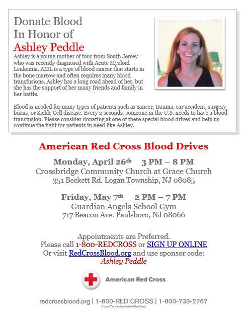 IHO Ashley Peddle Blood Drives - Flier (1)